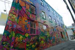 View of a wall in Graffiti Alley in Toronto, Ontario, Canada