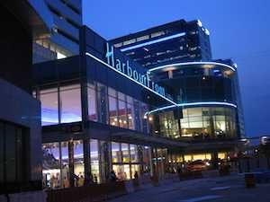 Night view of the Harbourfront Centre in Toronto, Ontario, Canada, for free movies in summer