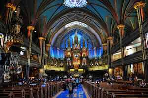 View of Notre-Dame Basilica in Montréal, Quebec, Canada during Sunday mass